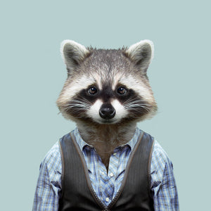 Rascal, the common raccoon, from the Zoo Portraits animal art series created by Yago Partal. This anthropomorphic artwork is a mix of photography, illustration and collage.
