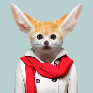 Nabila, the fennec fox, from the Zoo Portraits animal art series created by Yago Partal. This anthropomorphic artwork is a mix of photography, illustration and collage.