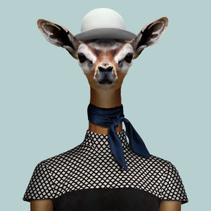 Hani, the gerenuk, from the Zoo Portraits animal art series created by Yago Partal. This anthropomorphic artwork is a mix of photography, illustration and collage.