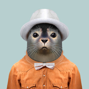Ottar, the harbour seal, from the Zoo Portraits animal art series created by Yago Partal. This anthropomorphic artwork is a mix of photography, illustration and collage.
