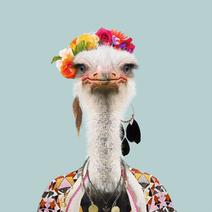 An image of an ostrich wearing a flower crown and a flowery cape, staring straight at the camera. This image is created by Spanish artist Yago Partal, as part of his Zoo Portraits series of animal art.