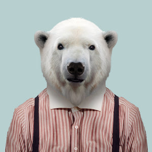 Sakari, the polar bear, from the Zoo Portraits animal art series created by Yago Partal. This anthropomorphic artwork is a mix of photography, illustration and collage.