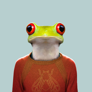 Camilo, the red-eye tree frog, from the Zoo Portraits animal art series created by Yago Partal. This anthropomorphic artwork is a mix of photography, illustration and collage.