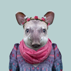Gabriela, the lowland tapir, from the Zoo Portraits animal art series created by Yago Partal. This anthropomorphic artwork is a mix of photography, illustration and collage.