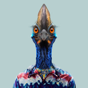 Tooh, the southern cassowary, from the Zoo Portraits animal art series created by Yago Partal. This anthropomorphic artwork is a mix of photography, illustration and collage.