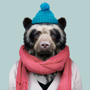 Ana Maria, the spectacled bear, from the Zoo Portraits animal art series created by Yago Partal. This anthropomorphic artwork is a mix of photography, illustration and collage.