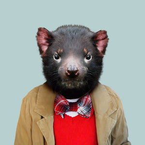 Hunter, the Tasmanian devil, from the Zoo Portraits animal art series created by Yago Partal. This anthropomorphic artwork is a mix of photography, illustration and collage.