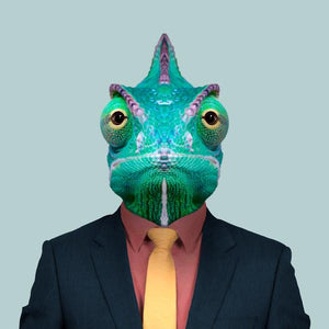 Yasser, the veiled chameleon, from the Zoo Portraits animal art series created by Yago Partal. This anthropomorphic artwork is a mix of photography, illustration and collage.