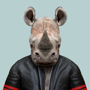 Baruti, the white rhinoceros, from the Zoo Portraits animal art series created by Yago Partal. This anthropomorphic artwork is a mix of photography, illustration and collage.