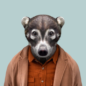 A white-nosed coati, wearing a brown jacket and brown shirt, staring straight at the camera. This image is created by Spanish artist Yago Partal, as part of his Zoo Portraits series of animal art.