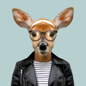 Laurie, the white-tailed deer, from the Zoo Portraits animal art series created by Yago Partal. This anthropomorphic artwork is a mix of photography, illustration and collage.