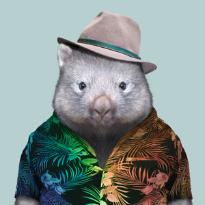 Henry, the wombat, from the Zoo Portraits animal art series created by Yago Partal. This anthropomorphic artwork is a mix of photography, illustration and collage.