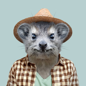 An image of a yellow-spotted rock hyrax, wearing a checked shirt, green T-shirt and brown hat, gazing directly at the viewer. This artwork is part of the Zoo Portraits art series, created by Spanish artist Yago Partal.