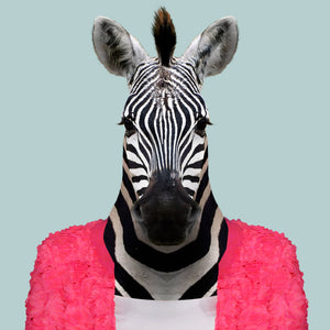 Raila, the common zebra, from the Zoo Portraits animal art series created by Yago Partal. This anthropomorphic artwork is a mix of photography, illustration and collage.