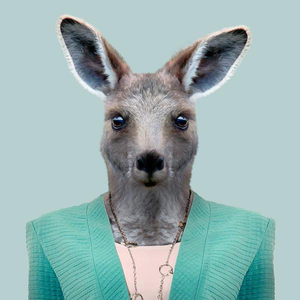 Olivia, the eastern grey kangaroo, from the Zoo Portraits animal art series created by Yago Partal. This anthropomorphic artwork is a mix of photography, illustration and collage.