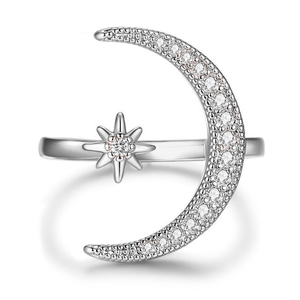 Elegant Moon & Star Ring