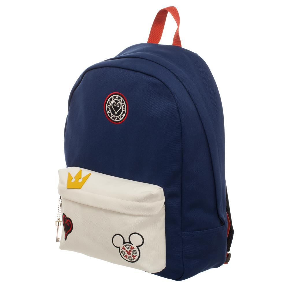 Kingdom Hearts Bag  Navy Blue and Whte Backpack with Kingdom Hearts Patches