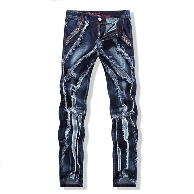 2017 Autumn Winter Europe Punk Style Slim Jeans Men Fashion Spliced Stage Jeans Male Street Amazing Special Pants - Orion Go Beyond