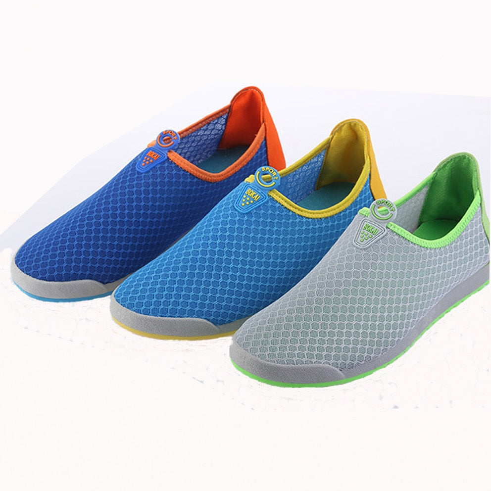 2017 Summer New Men's Mesh Flats Breathable Soft Colorful Casual Shoes Tide slip-on hit- color flats Man - Orion Go Beyond