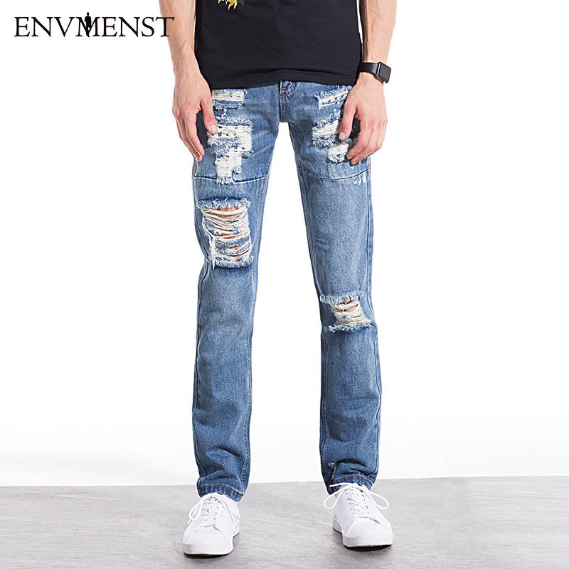 2017 New Brand Clothing Ripped Jeans Men High Quality Rivet Ripped Jeans for Men Casual Style Hole Pencil Pants Hot Sale - Orion Go Beyond