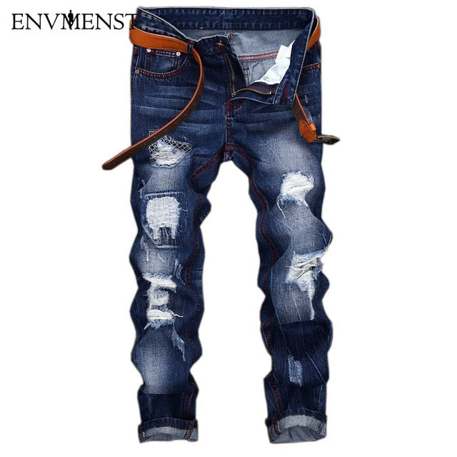 2017 Brand Design Distressed Hole Men's Blue Jeans Casual Street Biker Style Suture decoration Men's Ripped Denim Pants 42 Size - Orion Go Beyond