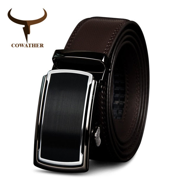COWATHER Top Cow Genuine Leather Men Belts High Quality Men Automatic Buckle Male Belts Vintage Buckle Leather Belts 110-130cm - Orion Go Beyond