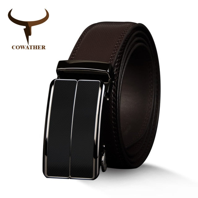 COWATHER New Arrival  cow genuine leather men's belt cowhide strap for male automatic buckle belts for men alloy buckle belts - Orion Go Beyond