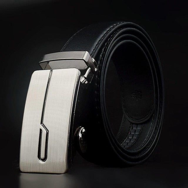 Men Black Automatic Buckle Belts Fashion Polygon Double Oblique Digonal Back Shape Waist Strap Belt Waistband Solid - Orion Go Beyond