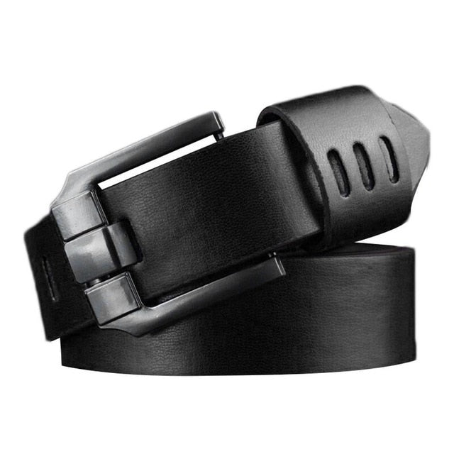 Men Fashion Casual Rectangle Alloy Pin Buckle Belt Solid Artificial Leather Waistband Pin-Buckle