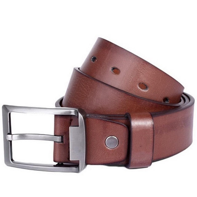 Men Fashion Casual Rectangle Alloy Pin Solid Pin-Buckle 100-135cm Buckle Belt Artificial Leather Waistband