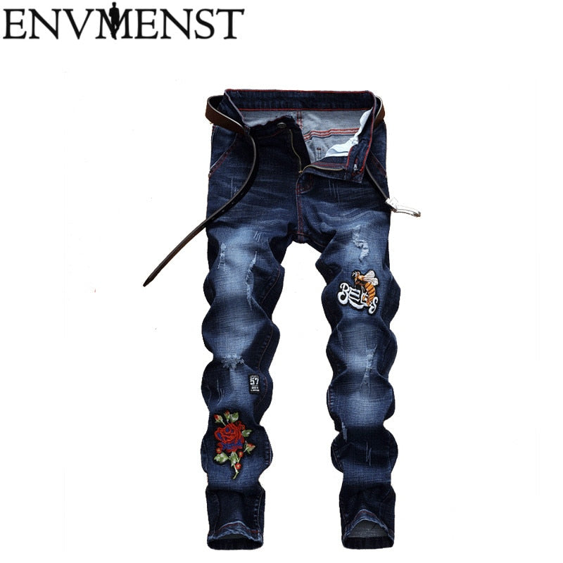Envmenst 2019 Men Stylish Ripped Jeans Pants Slim Straight Frayed Denim Trousers New Fashion Skinny Men Jeans Pants - Orion Go Beyond