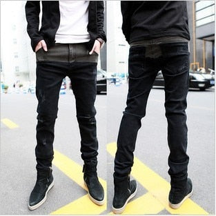 2017 Spring New Man Jeans Black Hiphop Washed Fashion Designer Denim Skinny Jeans Low Waist Trousers High Quality Slim Fit - Orion Go Beyond