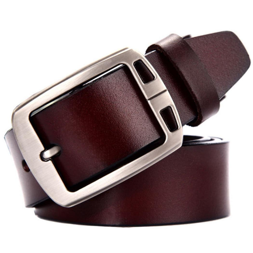 Mens Needle Buckle Artificial Leather Business Casual Belts Solid 2 types Waist Black , Wine red Strap