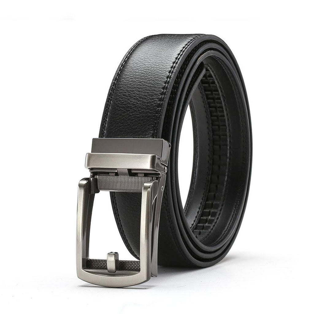 Men Casual Solid Automatic Buckle Belts buckle design Adjustable Leather Waist Square Belt