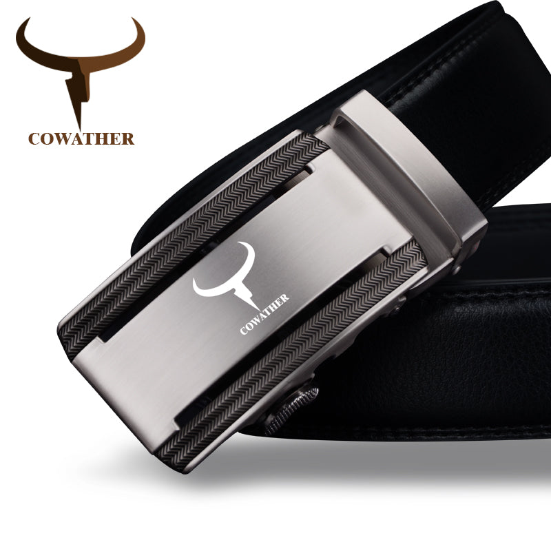 COWATHER 2019 new 100% cow genuine leather belts for men high quality alloy automatic buckle belt cinto masculino original - Orion Go Beyond