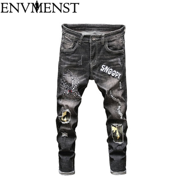 2019 Men Stylish Ripped Jeans Pants Pattern Skinny Slim Straight Frayed Denim Trousers New Fashion Skinny Jeans For Men - Orion Go Beyond