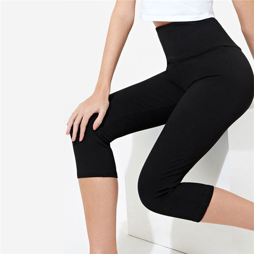 SHEIN Black Long Length Cycling Leggings Short Leggings Women Spring Stretchy Solid Athleisure Workout High Waist Leggings