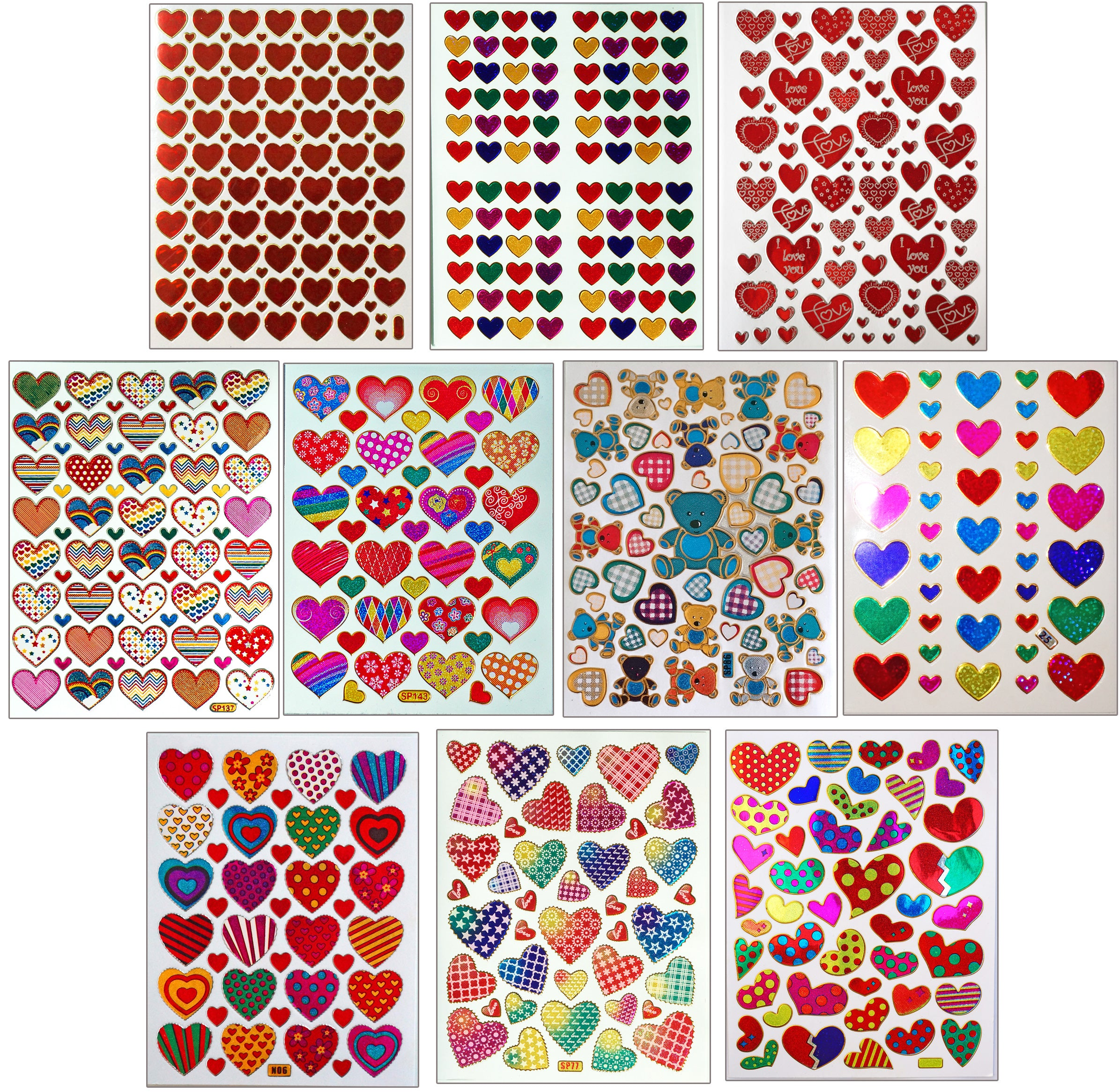 Paper cellar Glitter Valentine heart stickers red and gold x 2 packs