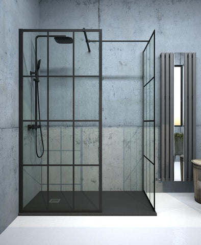 SONAS Aspect Black Trellis 1100mm Wetroom Panel Code ABWRP012