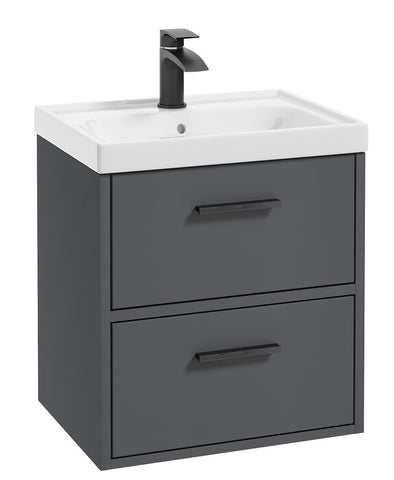SONAS Finland Midnight Grey Matt 50cm Wall Hung Vanity Unit - Matt Black Handle Code BFIN50MN