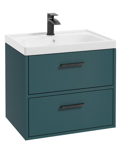 SONAS Finland Ocean Blue Matt 60cm Wall Hung Vanity Unit - Matt Black Handle Code BFIN60OB