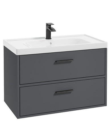 SONAS Finland Midnight Grey Matt 80cm Wall Hung Vanity Unit - Matt Black Handle Code BFIN80MN