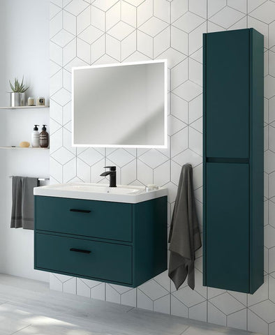 SONAS Finland Ocean Blue Matt 80cm Wall Hung Vanity Unit - Matt Black Handle Code BFIN80OB