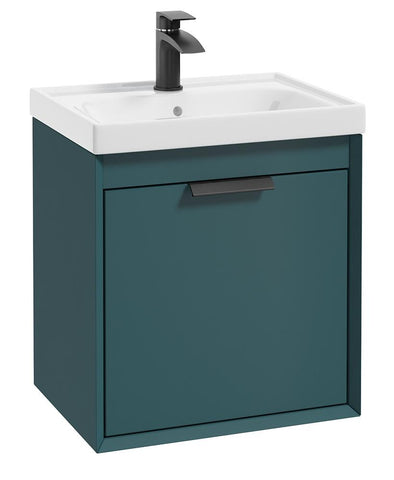 SONAS Fjord Ocean Blue Matt 50cm Wall Hung Vanity Unit-Matt Black Handle Code BFJ50OB
