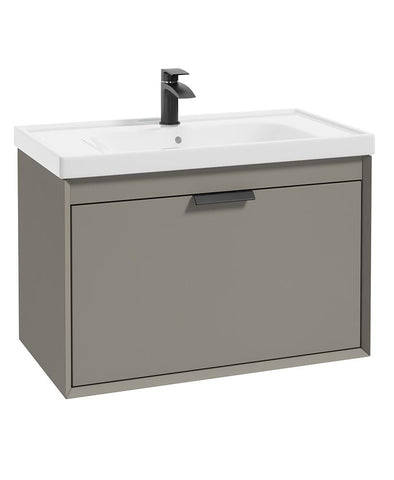 SONAS Fjord Khaki Matt 80cm Wall Hung Vanity Unit-Matt Black Handle Code BFJ80KH
