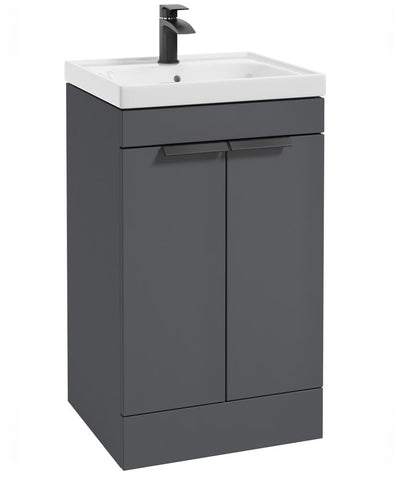 SONAS Stockholm Midnight Grey Matt 50cm 2 Door Floor Standing Vanity Unit - Matt Black Handle Code BFST50MN