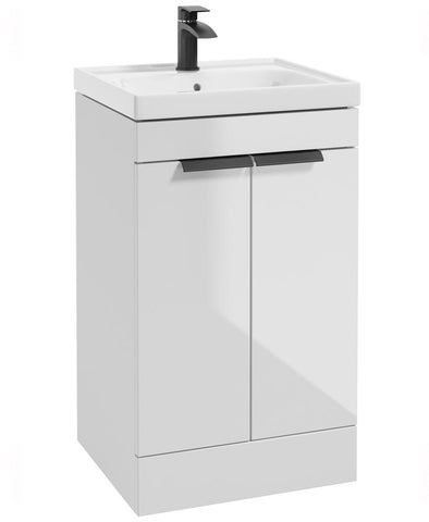SONAS Stockholm Gloss White 50cm 2 Door Floor Standing Vanity Unit - Matt Black Handle Code BFST50WH