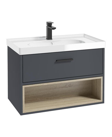 Malmo 80cm Single Drawer, Open Shelf Unit, Matt Night Sky Blue, Black Handle, Gloss Basin BMAL80NBGB