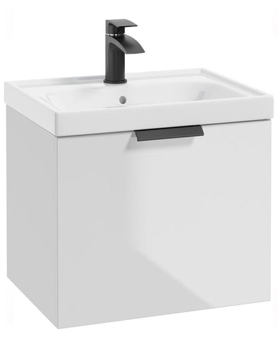 SONAS Stockholm Gloss White 50cm Wall Hung Vanity Unit - Matt Black Handle Code BWST50WH