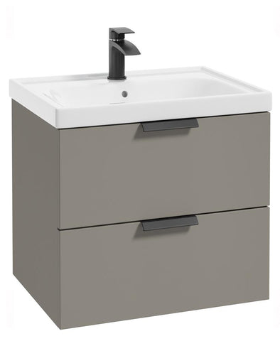 SONAS Stockholm Khaki Matt 60cm Wall Hung Vanity Unit - Matt Black Handle Code BWST60KH